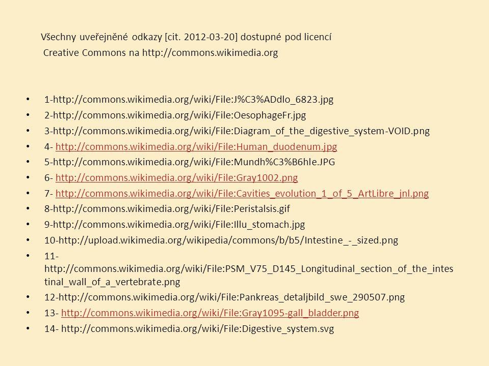 Všechny uveřejněné odkazy [cit. 2012-03-20] dostupné pod licencí